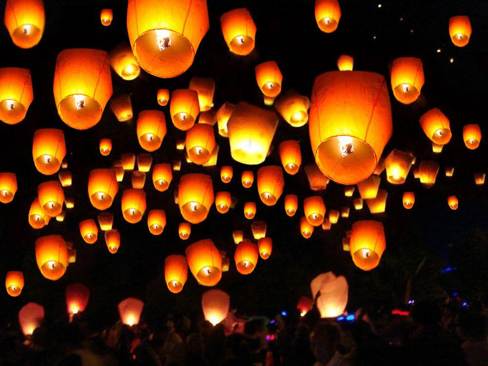 White Paper Chinese Lanterns Sky Fire Fly Candle Lamp