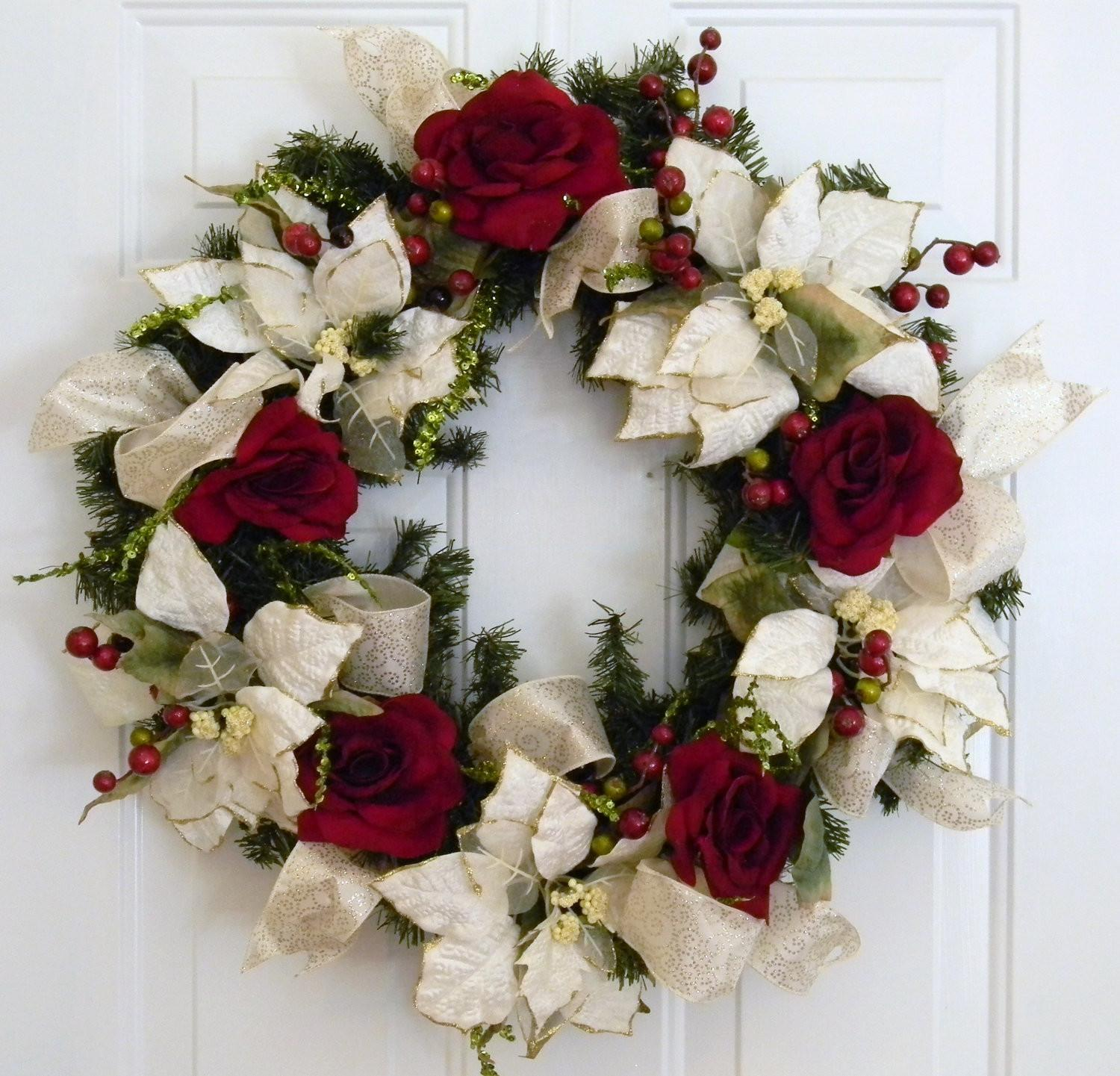 White Red Christmas Wreath Adariahomeaccents