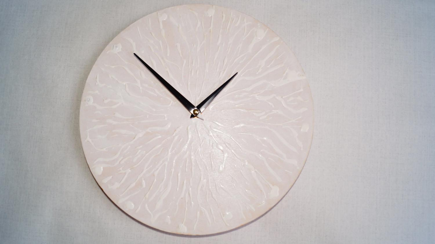 White Relief Wall Clock Minimalist Delicate