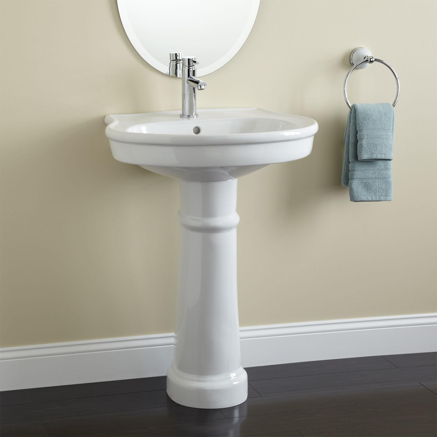 White Round Top Ceramic Pedestal Sink Chrome Single