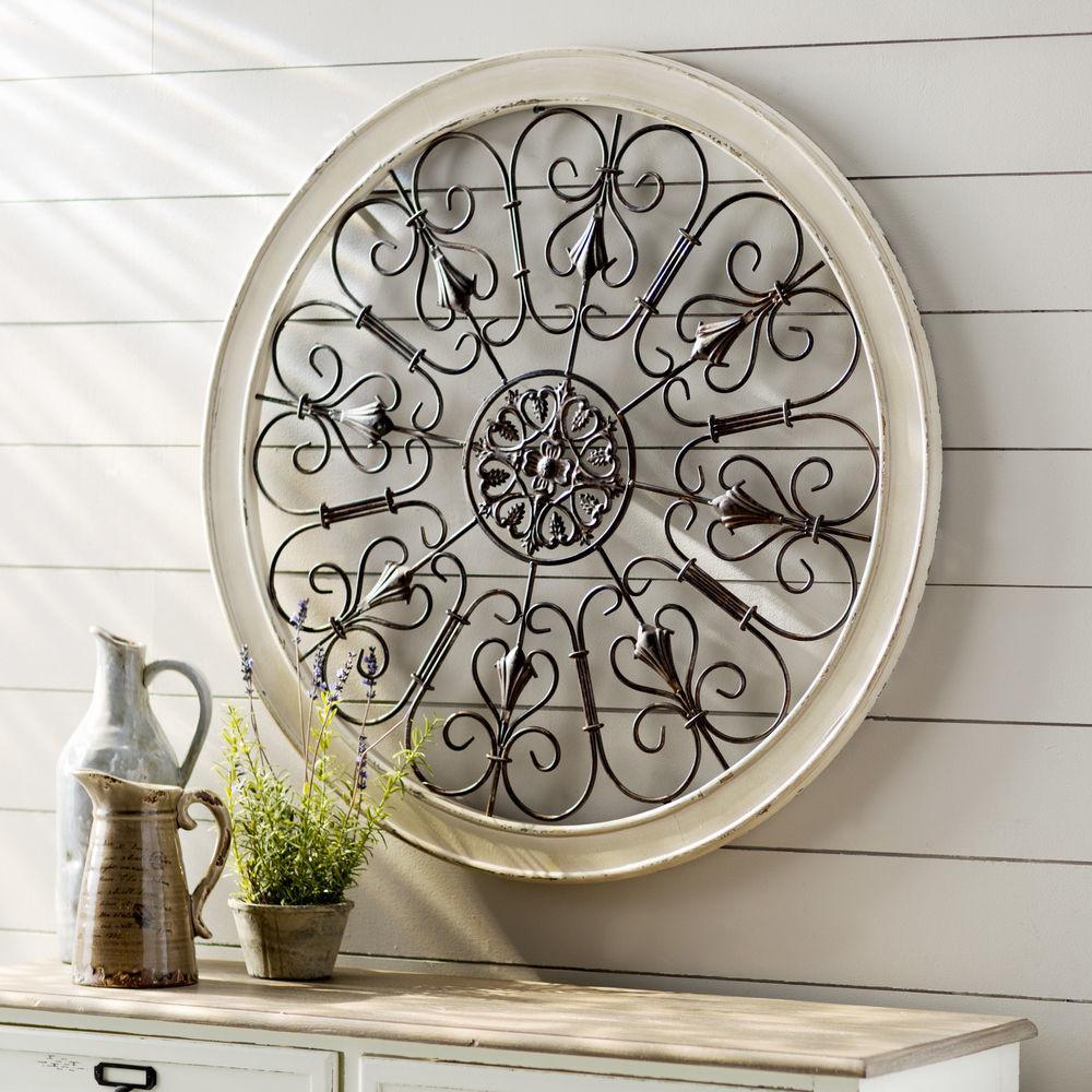 White Round Wrought Iron Wall Decor Rustic Scroll Antique