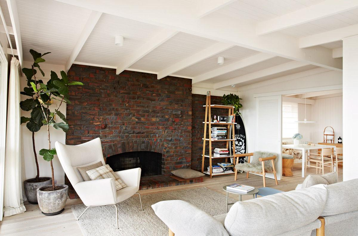 White Salon Industrial Style Wall Brick Fireplace