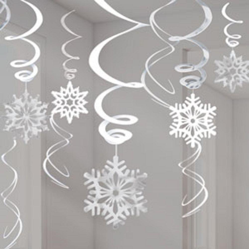 White Snowflake Swirl Decorations 55cm Great Disney