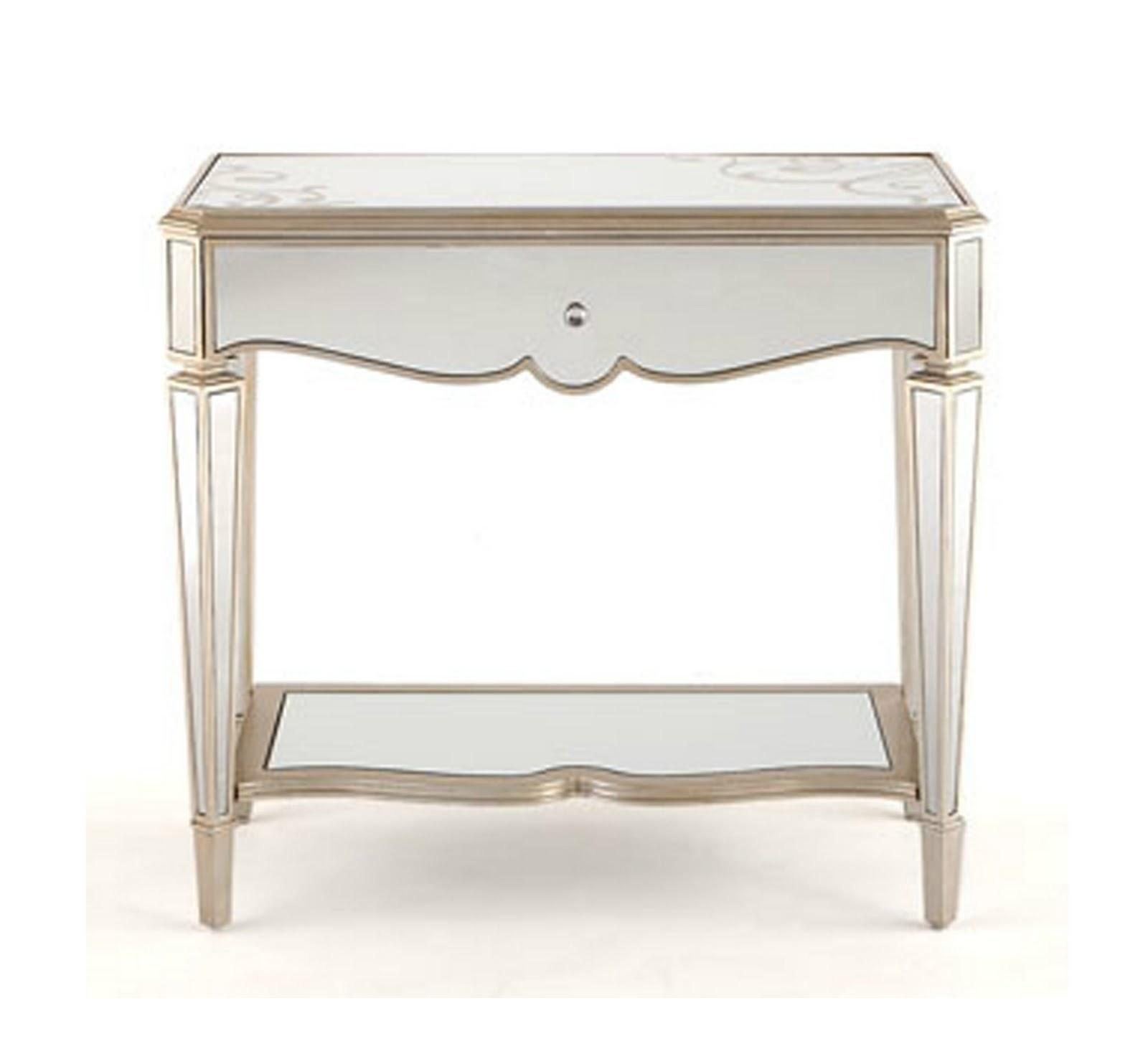 White Solid Wood Bed Side Table Gray Walnut Hardwood