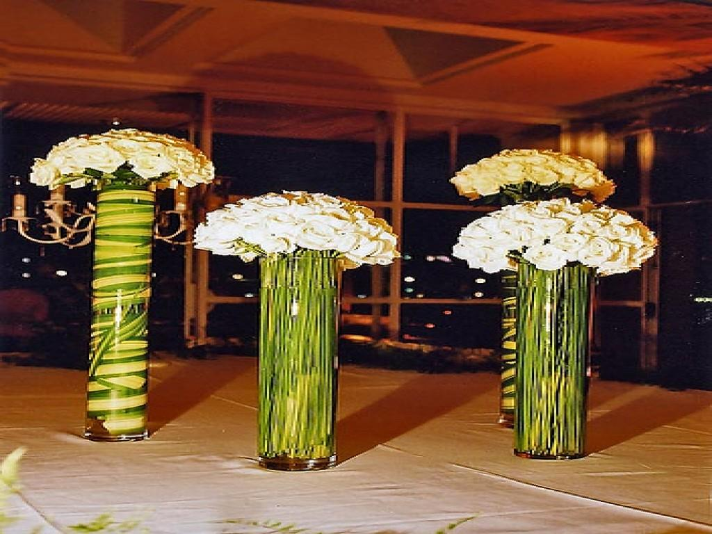 White Tall Table Vase Wedding Centerpieces Flowers