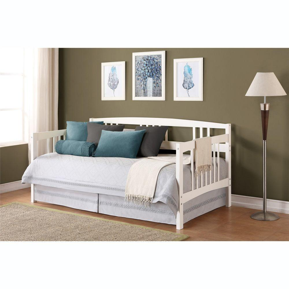 White Twin Wood Day Bed Home Living Room Dorm Guest