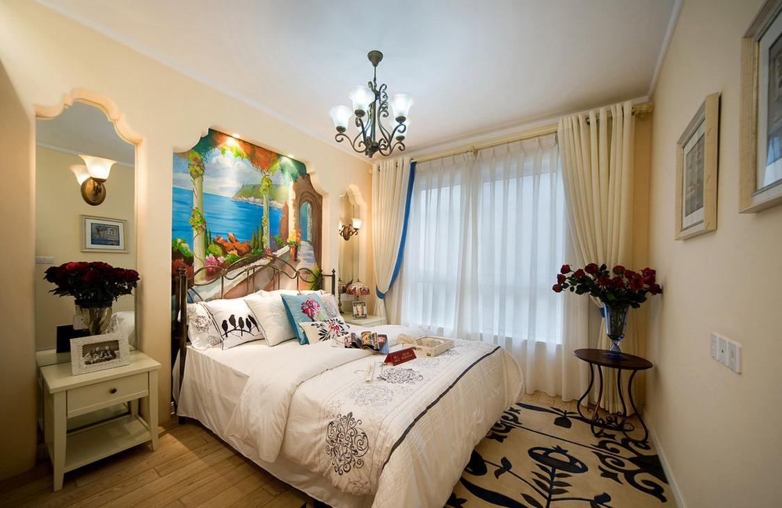 White Wall Paint Color Mediterranean Bedroom Interior