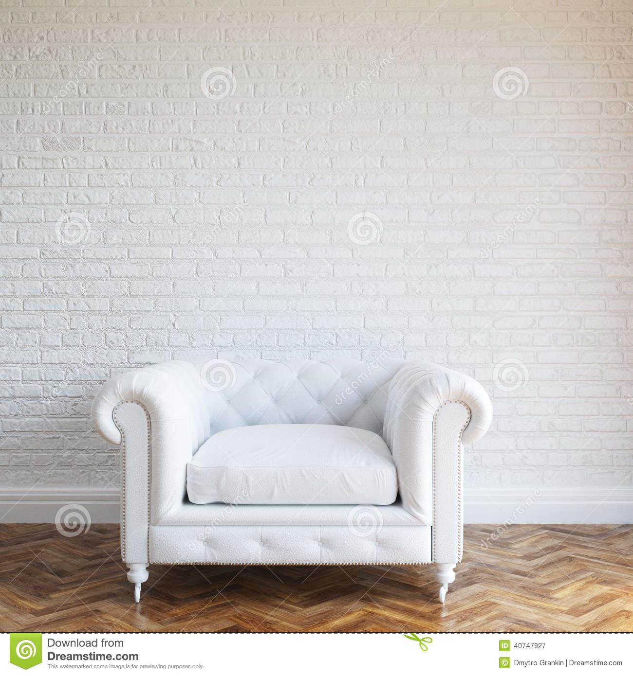 White Walls Brick Interior Classic Leather Armchair