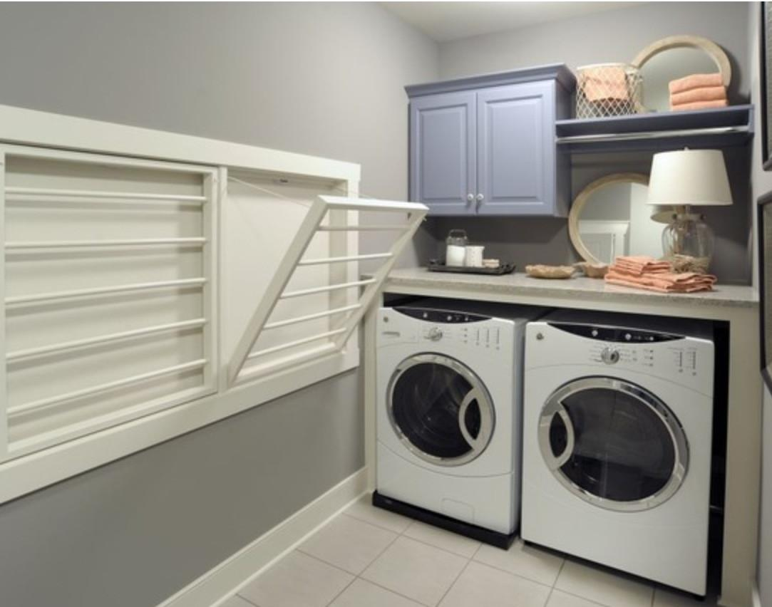 White Wooden Cabinet Storage Over Double Top Loader