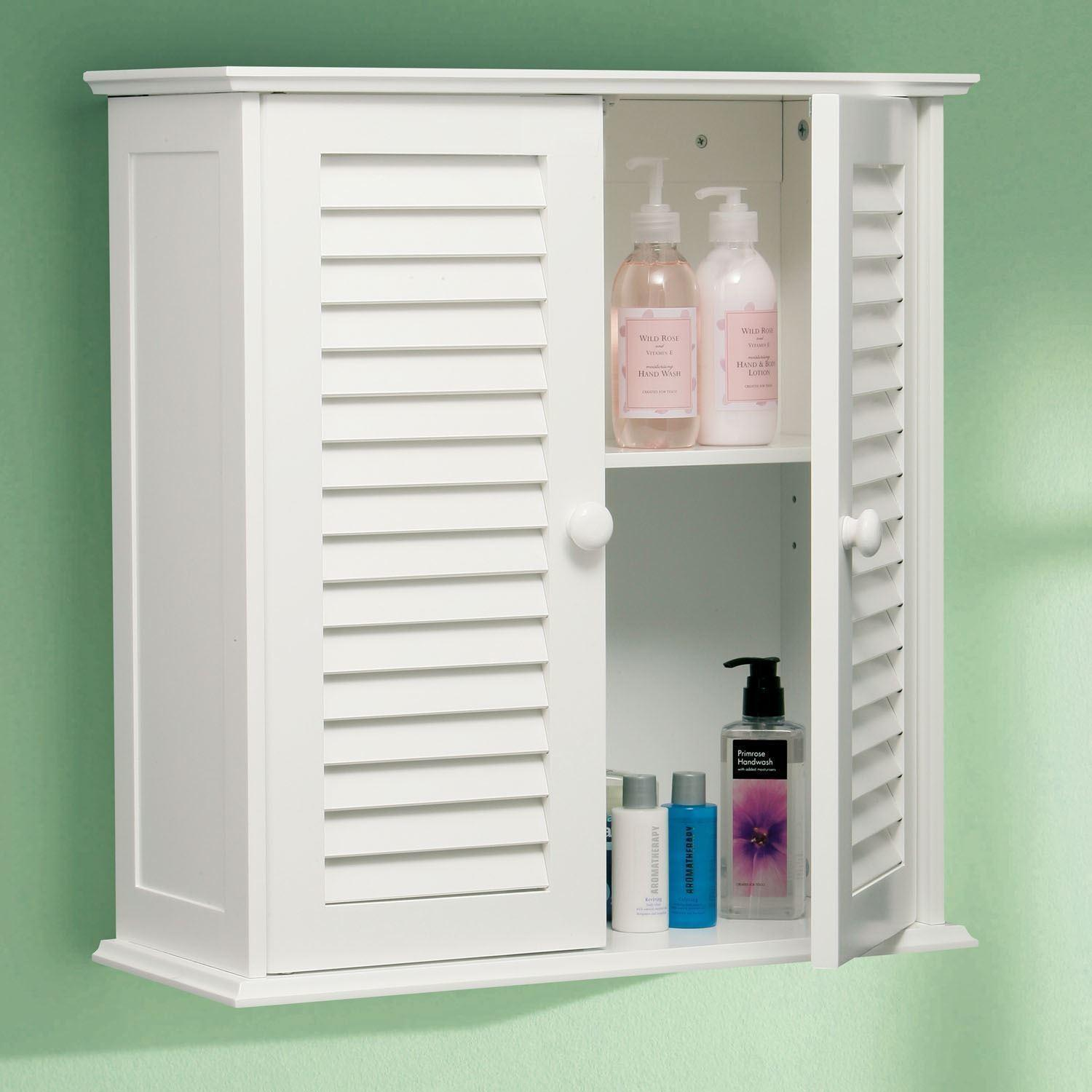 White Wooden Double Slatted Shutter Door Wall Bathroom