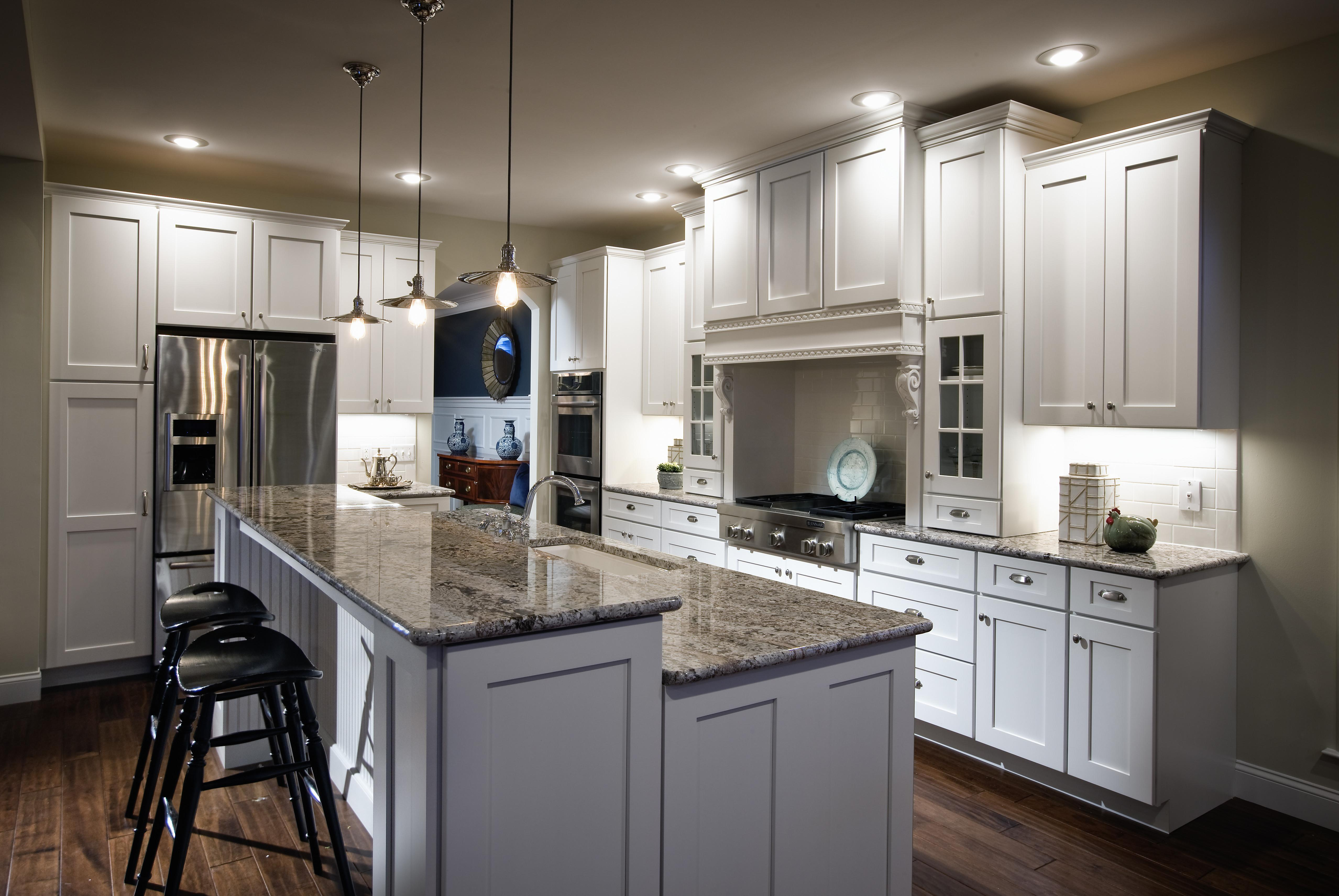 White Wooden Kitchen Island Gray Marble Counter Top