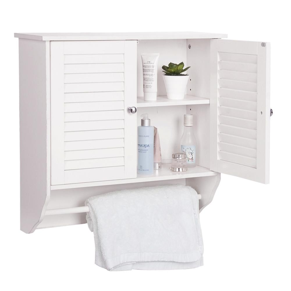 White Wooden Mounted Bathroom Storage Wall Cabinet