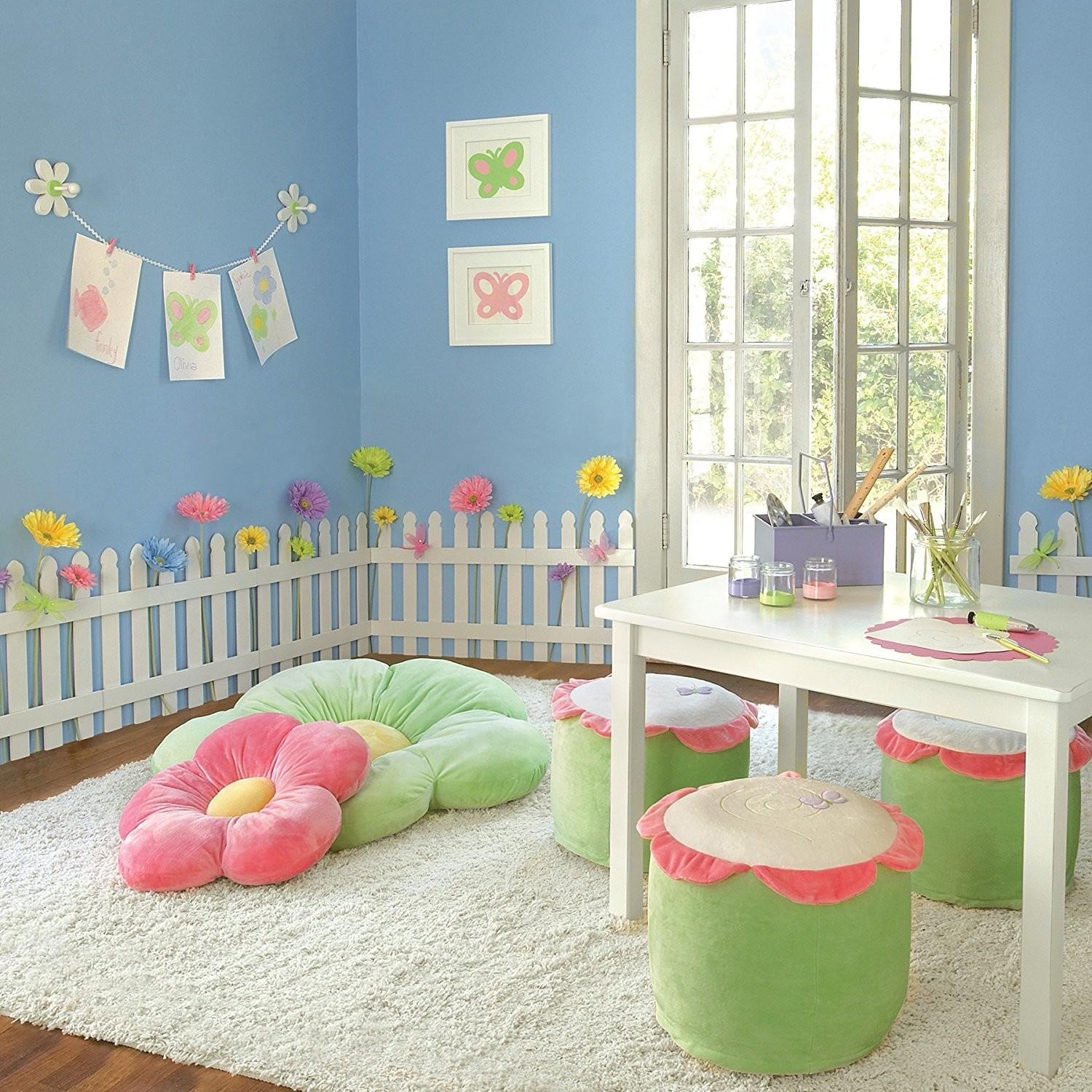 White Wooden Picket Fences Kids Room Wall Border