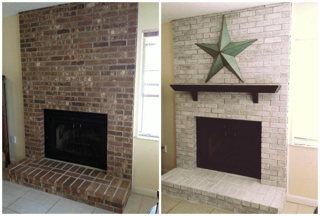 Whitewash Brick Fireplace Before After Designs