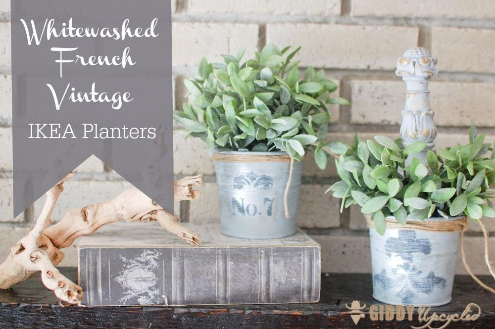 Whitewashed French Vintage Planters Giddy Upcycled