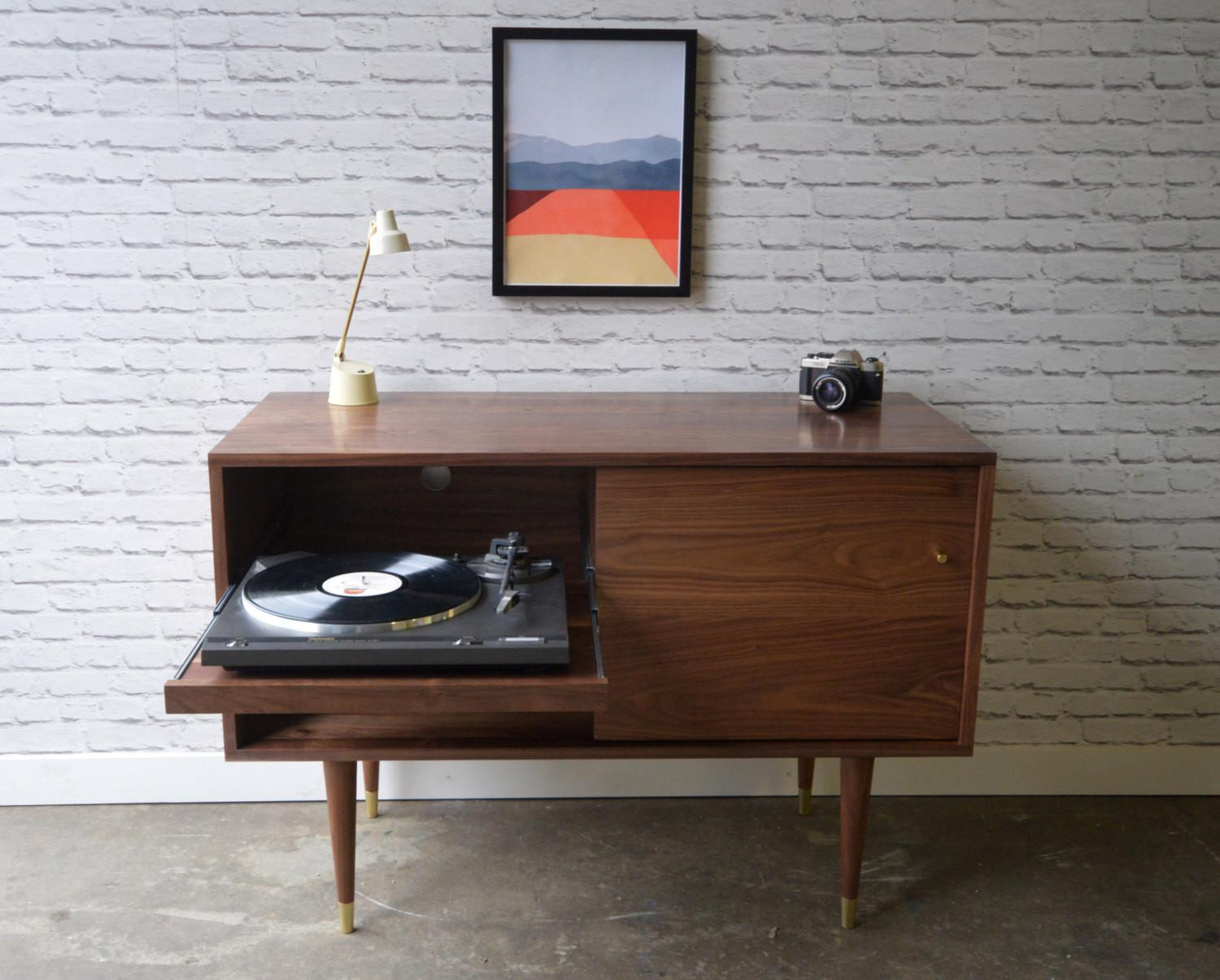 Whitewater Record Cabinet Pull Out Shelf Solid Walnut
