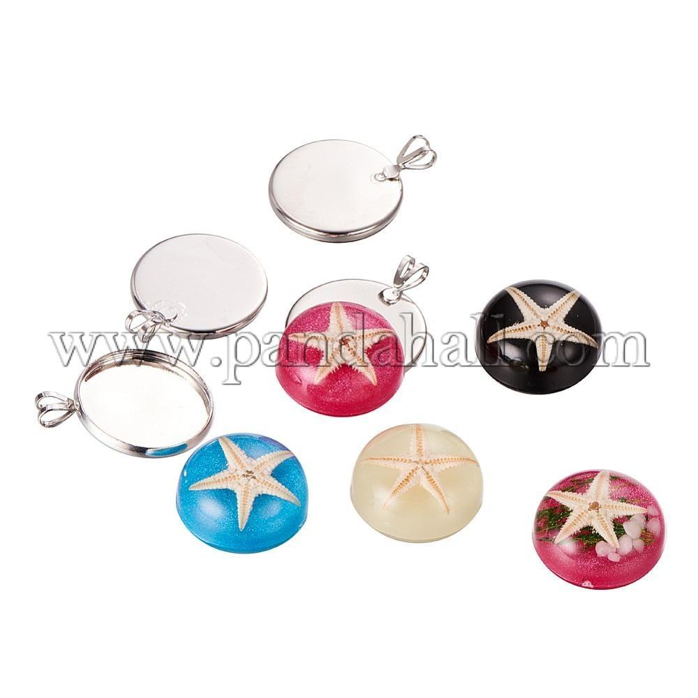 Wholesale Diy Jewelry Pendant Making Sets Resin Dome