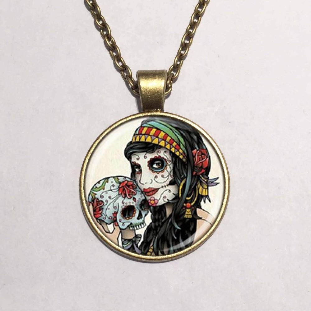 Wholesale Glass Dome Pendant Gypsy Skull Necklace