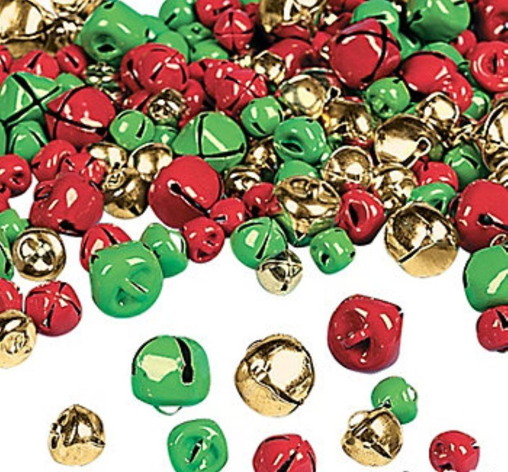Wholesale Lot 200 Gold Red Green Jingle Bells Charms