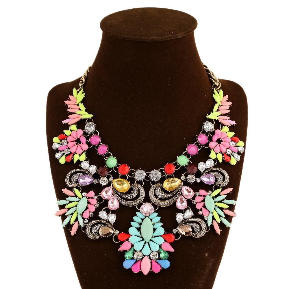 Wholesale New Fashion Trendy Necklace Big Crystal Gem