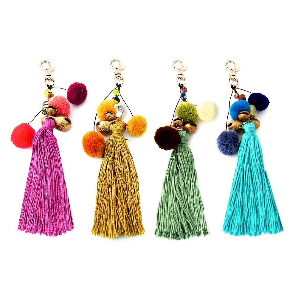 Wholesale Shop Handbag Charm Bell Pom Tassel