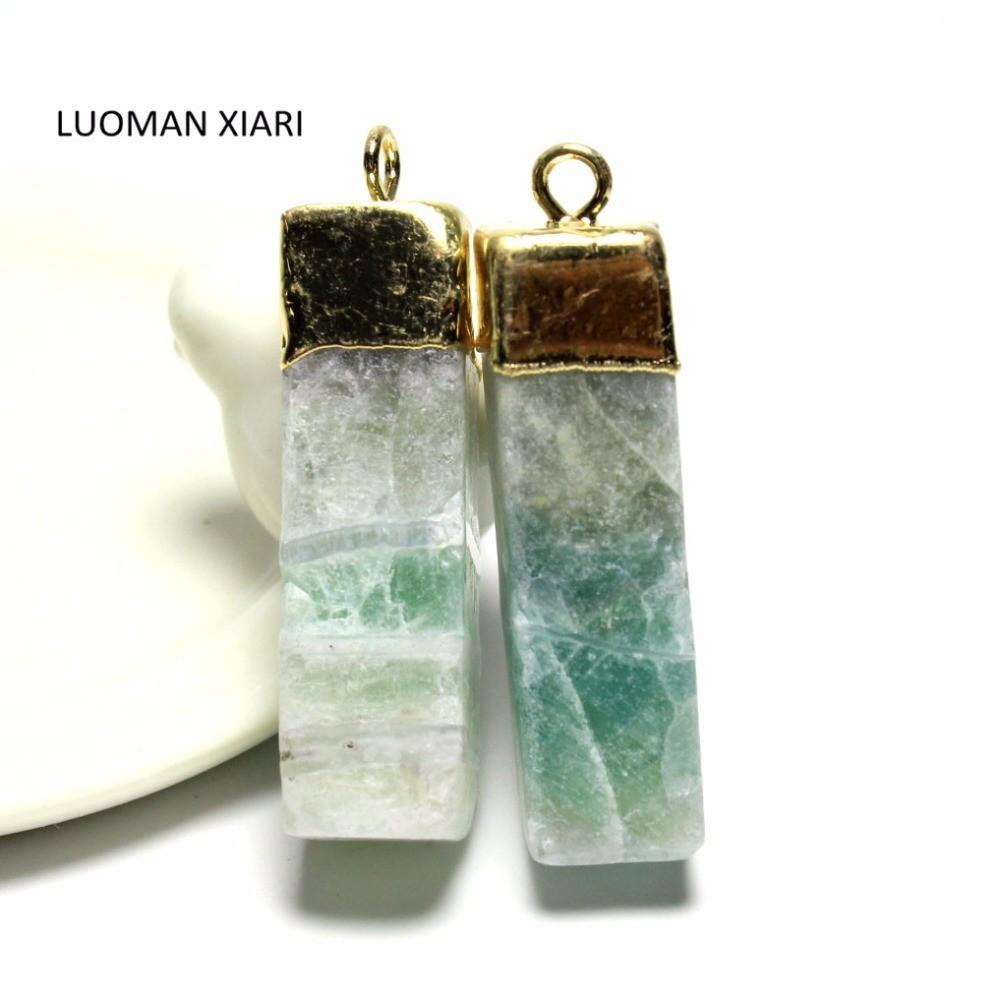 Wholesale Unique Natural Stone Fluorite Charms Pendant