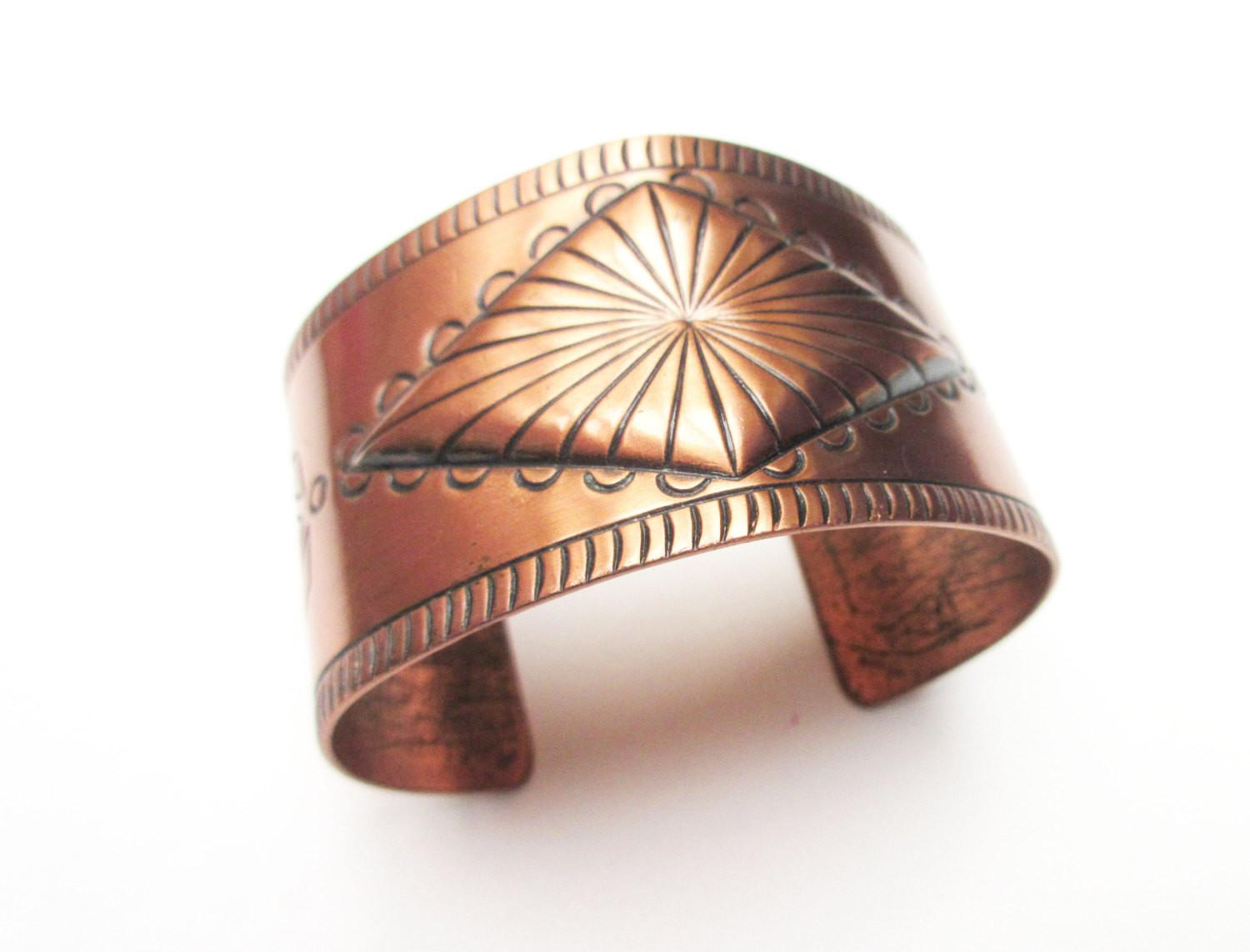 Wide Solid Copper Tribal Etched Cuff Serendipitytreasure