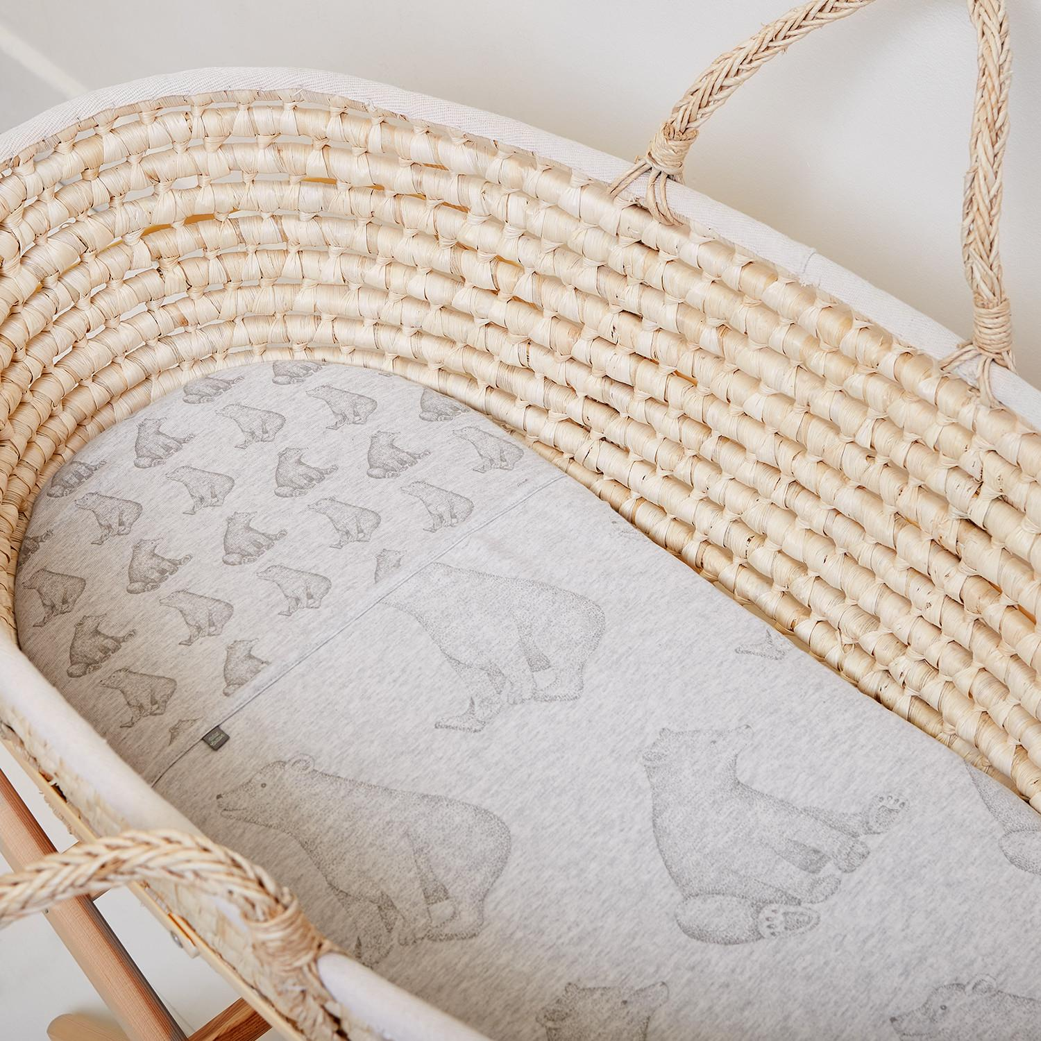 Wild Cotton Organic Bedding Set Moses Basket Pram Bear