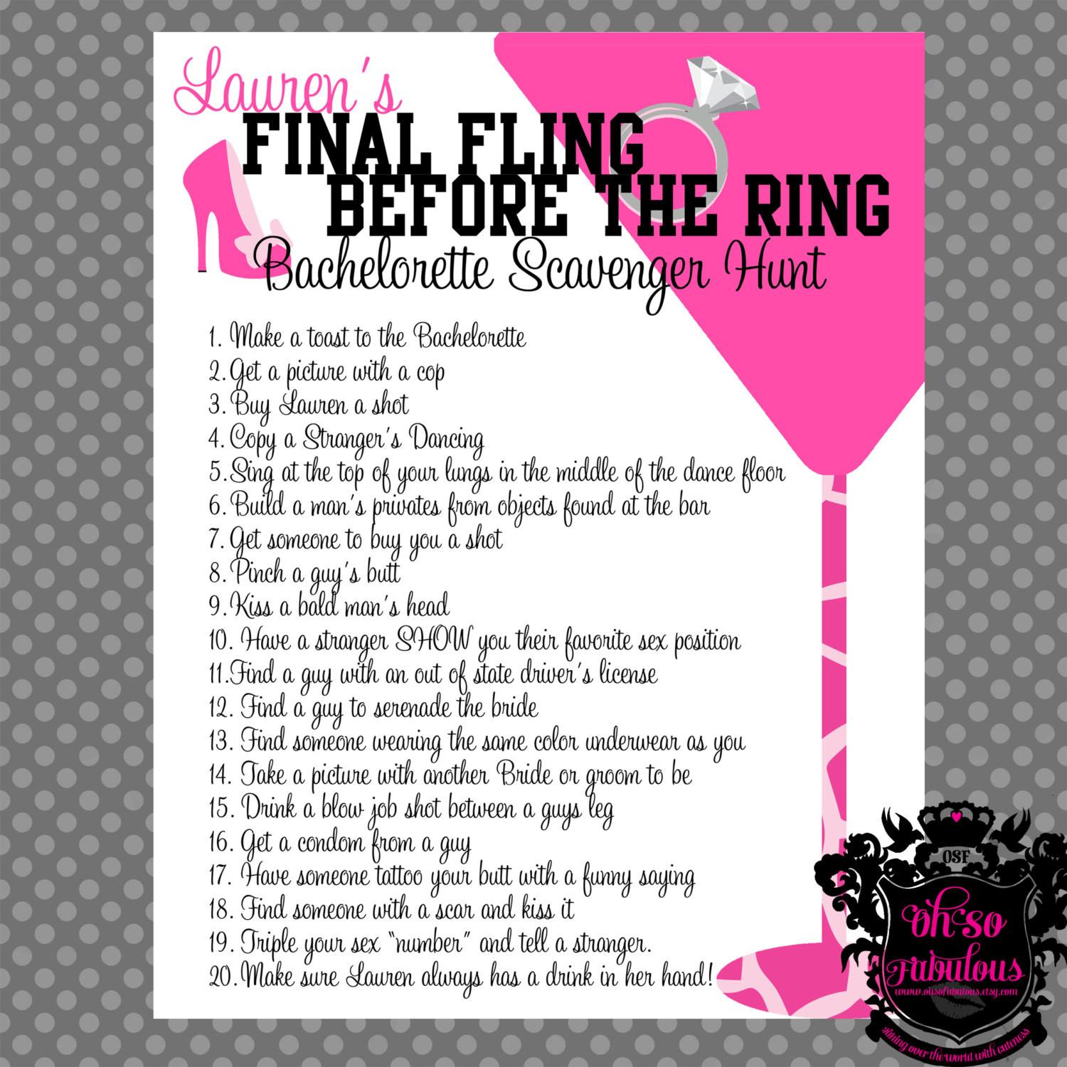 Wild Crazy Bachelorette Party Scavenger Hunt