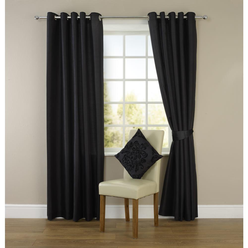 Wilko Faux Silk Eyelet Curtains Black 167 183cm
