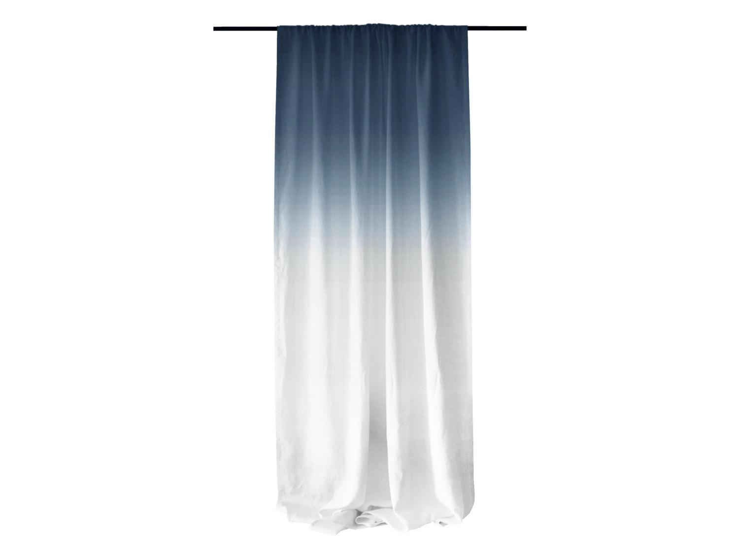 Window Curtains Ombr Blue Fade White Linen
