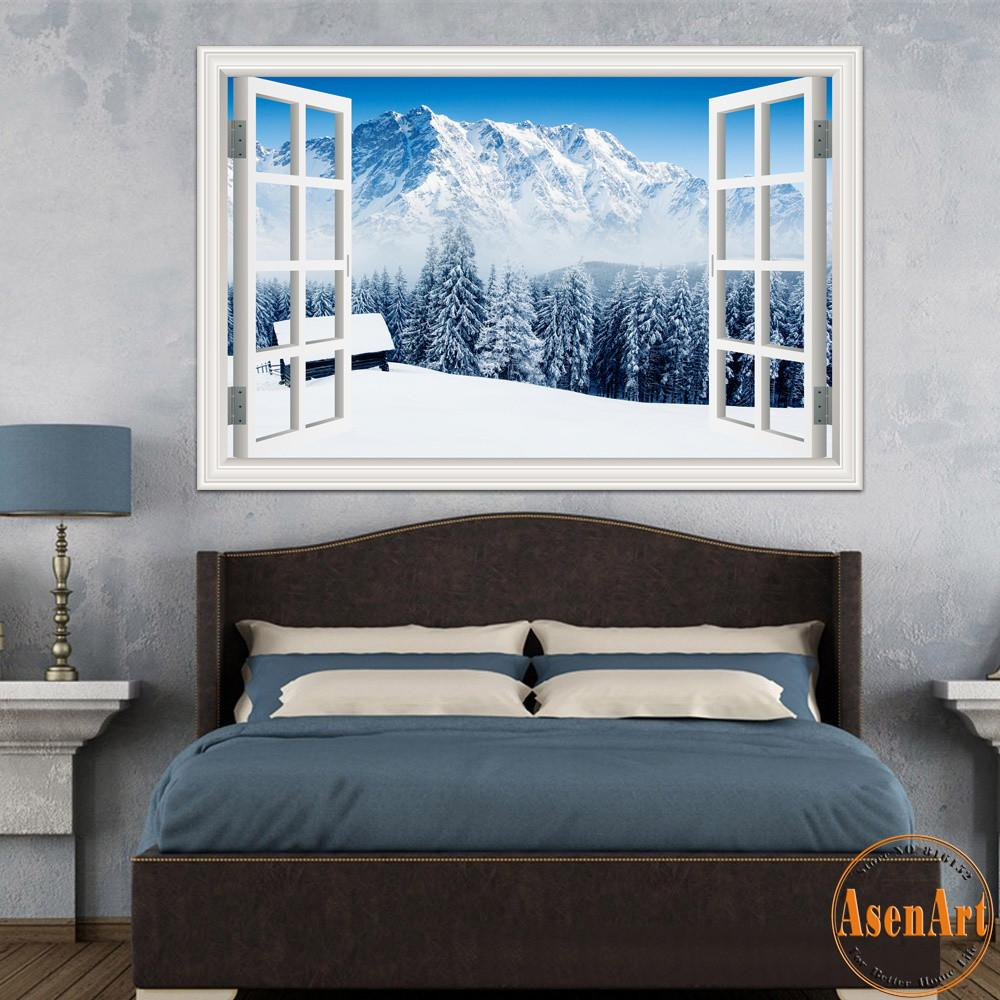 Window Wall Stickers Home Decor Forest Tree Snow Winter