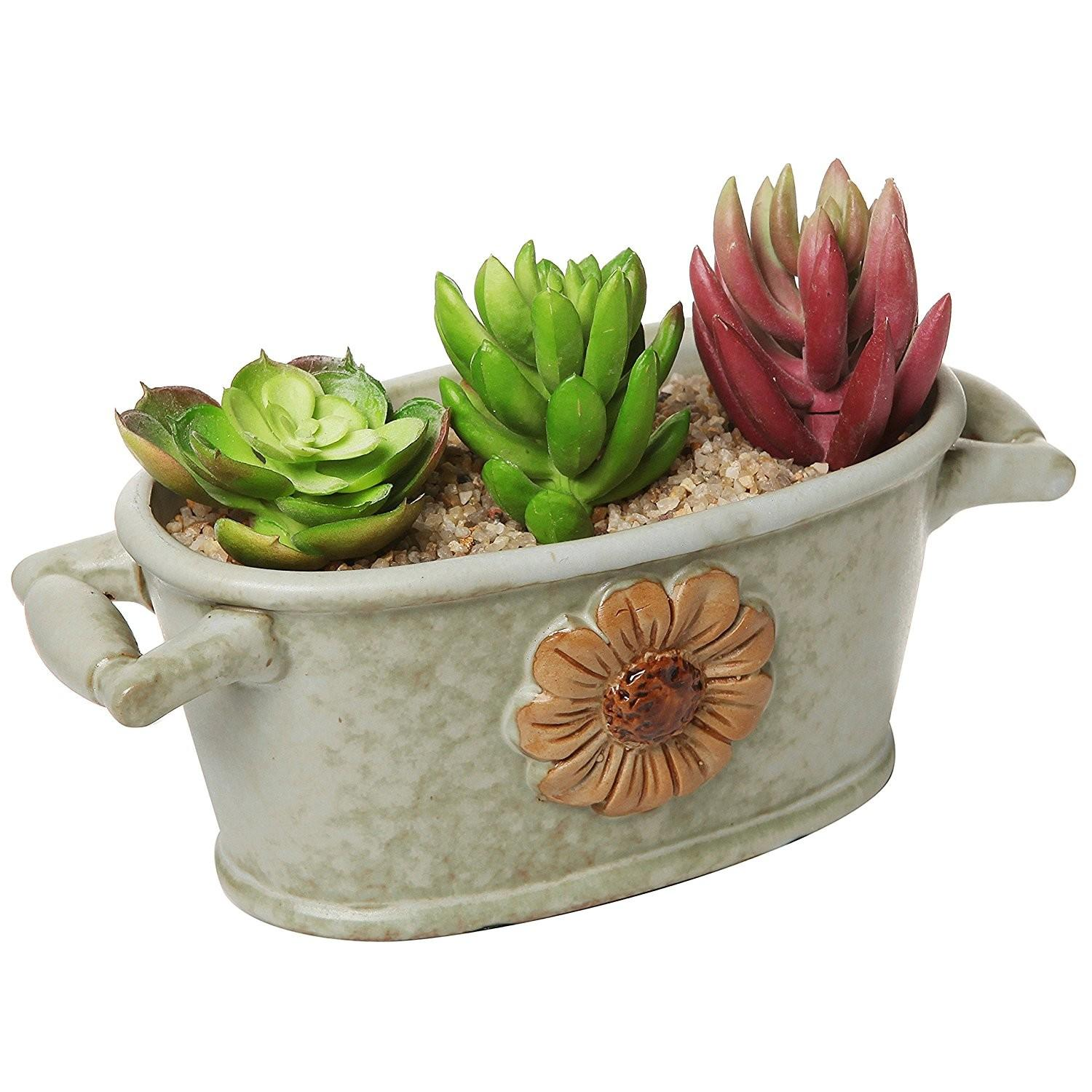 Windowsill Green Ceramic Bucket Trough Succulent Planter
