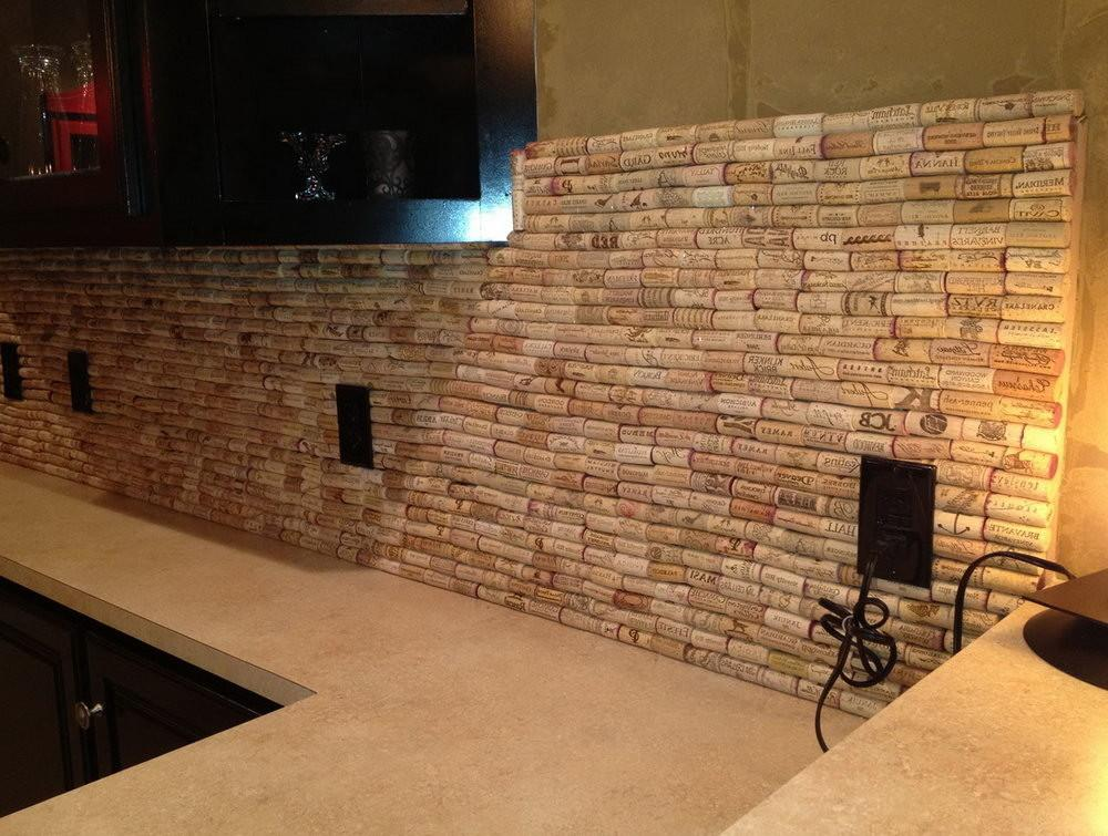 Wine Cork Backsplash Diy