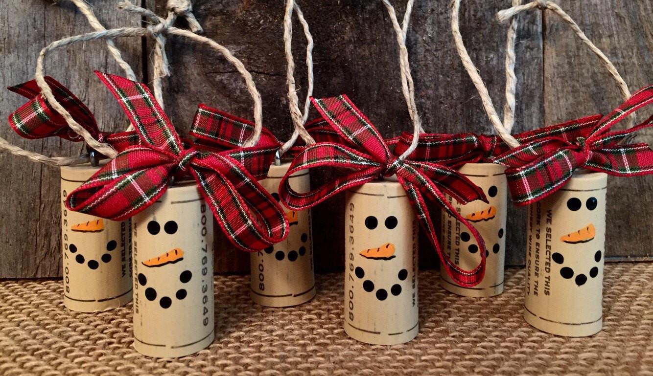 Wine Cork Ornaments Snowman Ornament