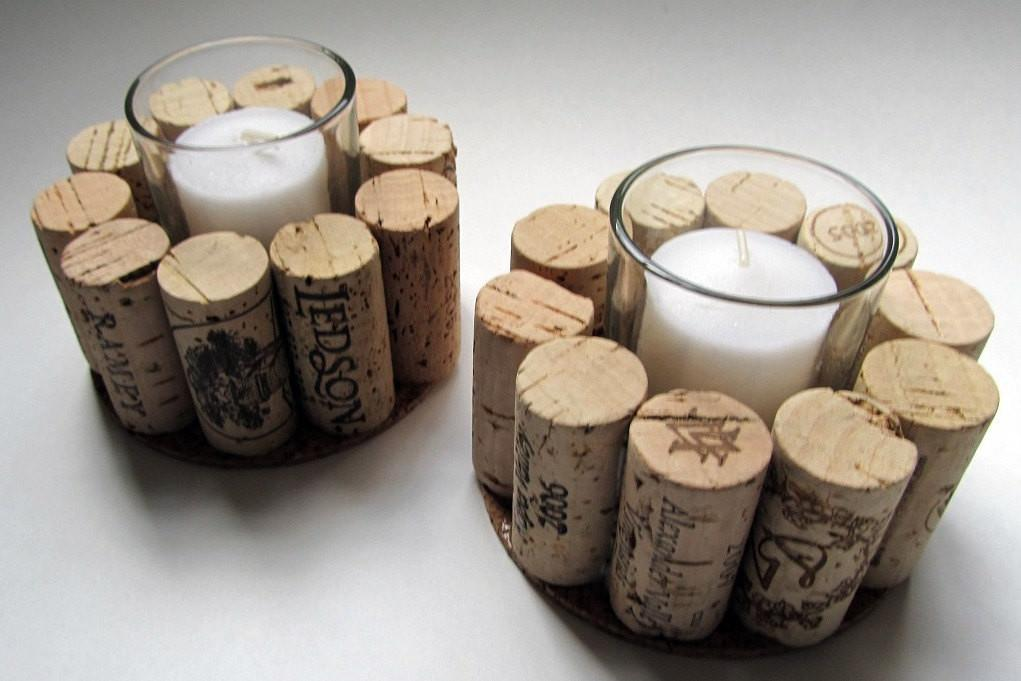 Wine Cork Votive Candle Holder Set Two Rustic Cottage