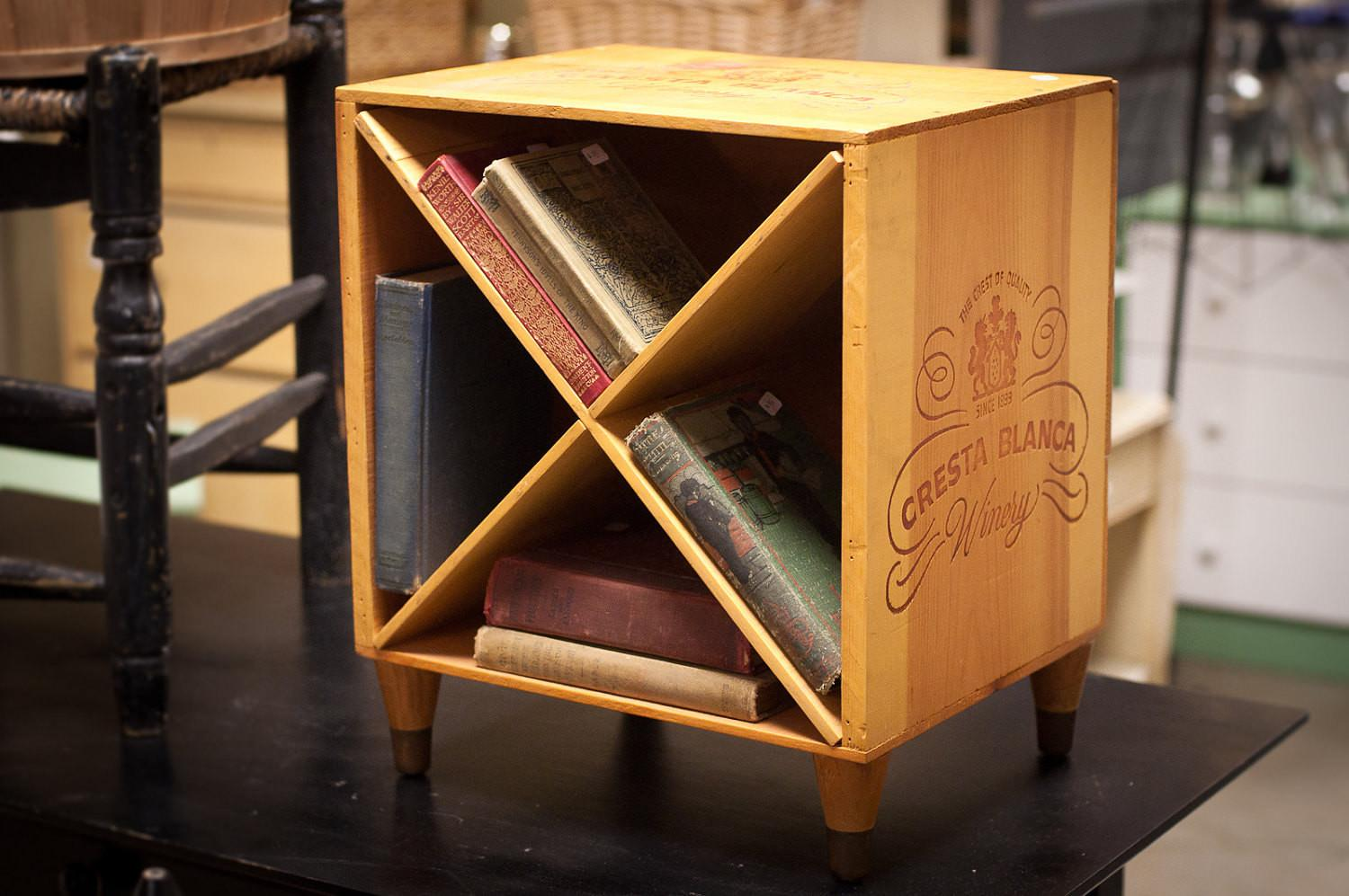Wine Crate End Table Wooden Nightstand Box