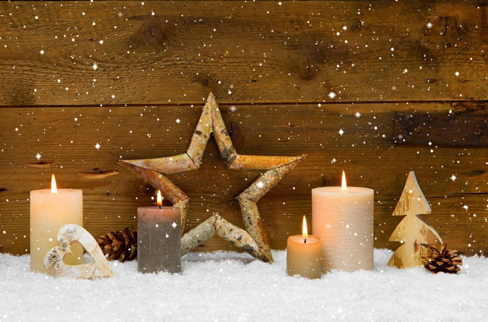Winter Candles Star Cones Holiday Heart Merry Christmas