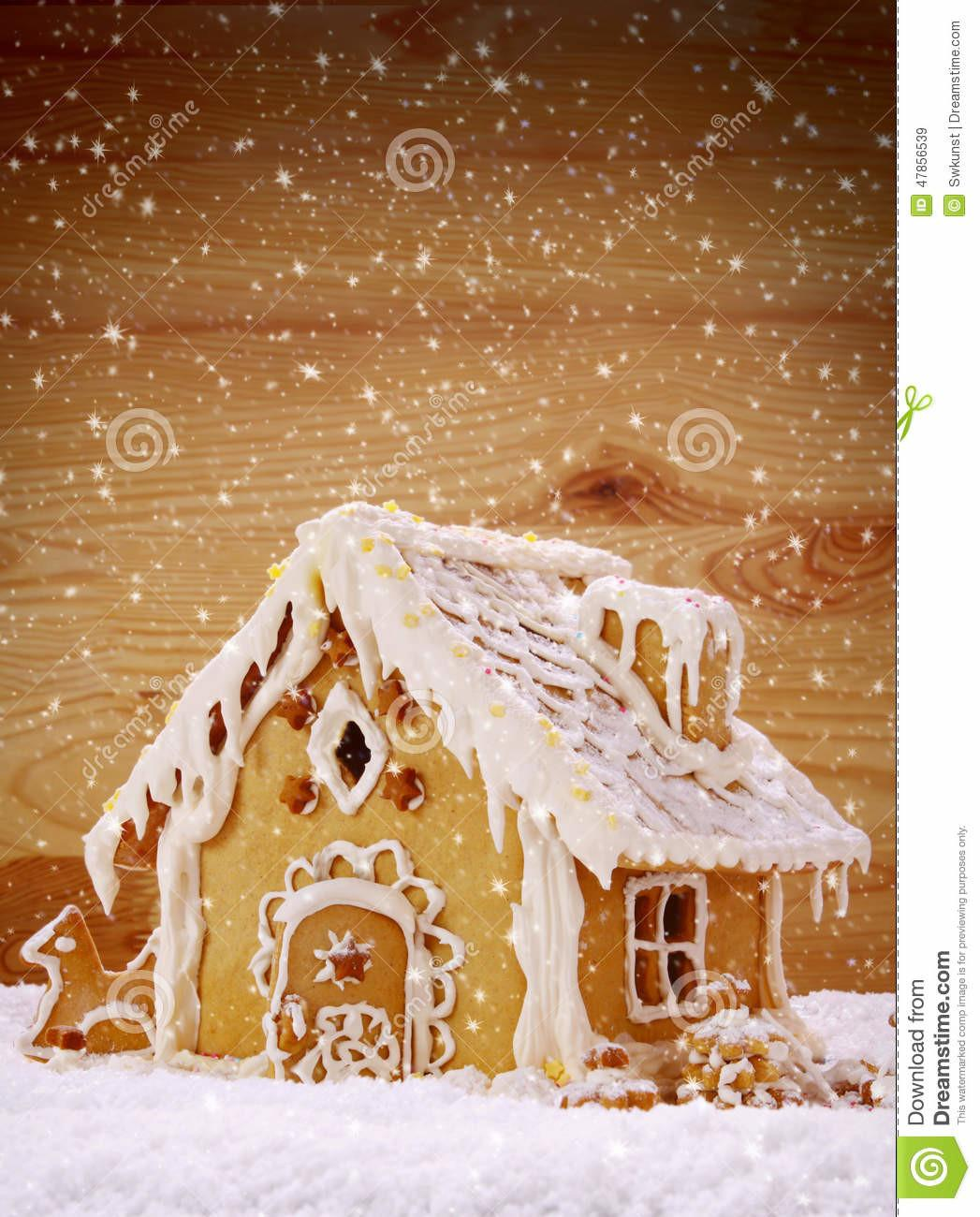 Winter Holiday Gingerbread House Stock