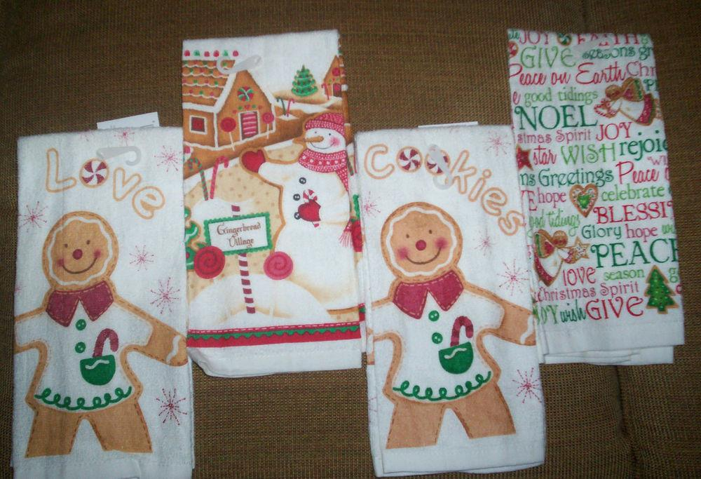 Winter Holidays Terry Kitchen Dish Towel Gingerbread Boy