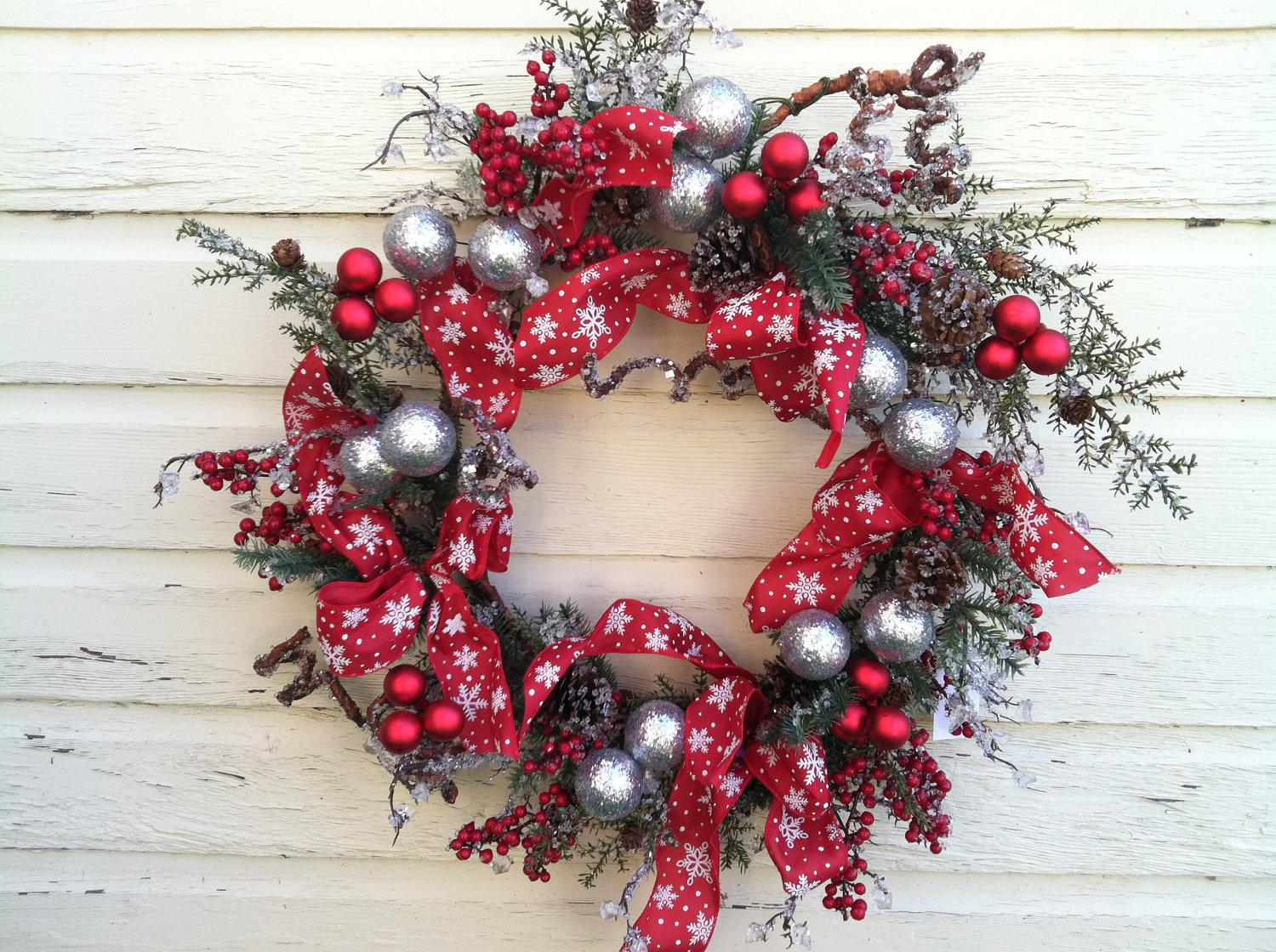 Winter Red Silver Christmas Wreath