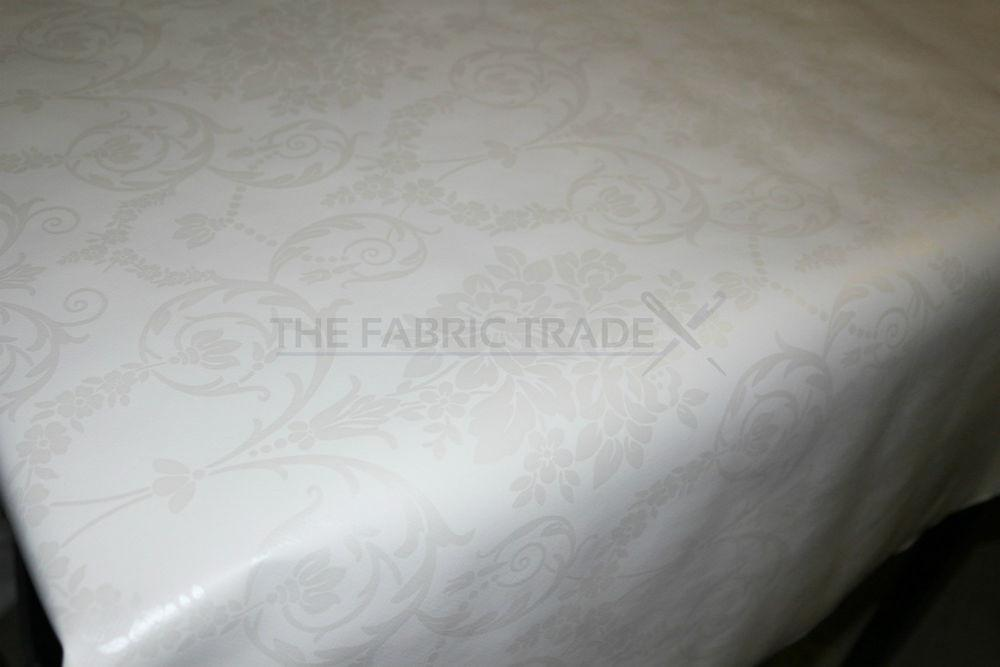 Wipe Clean White Floral Damask Pvc Tablecloth Vinyl