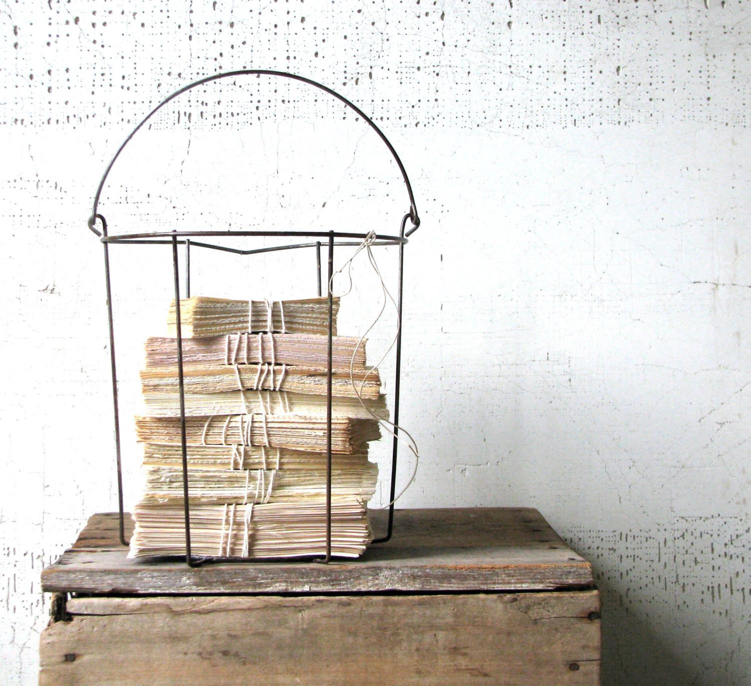 Wire Basket Urban Farmhouse Storage Minimal Home Decor
