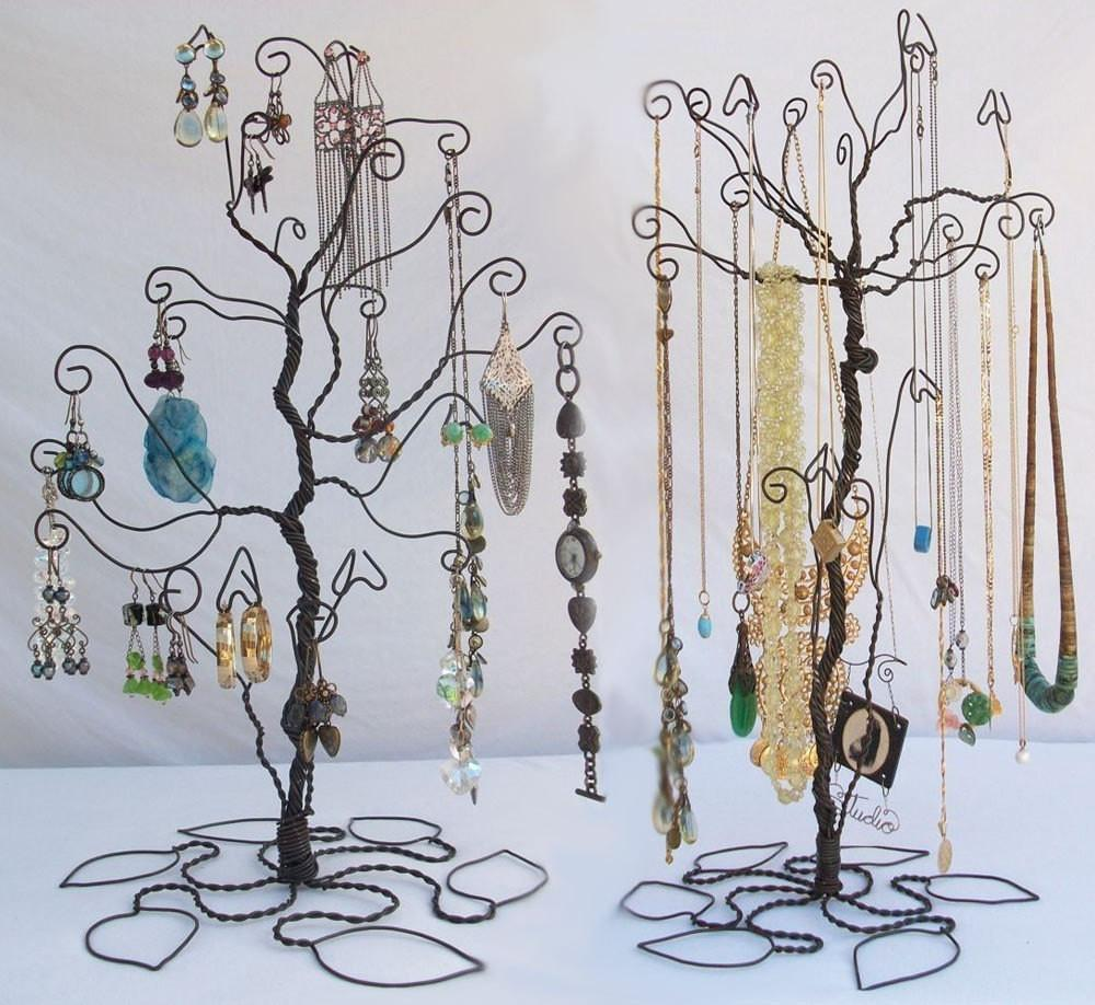 Wire Tree Stand Jewelry Display Holder Set Earring Necklace