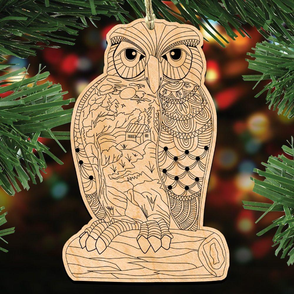 Wise Messenger Owl Diy Coloring Decorative Holiday