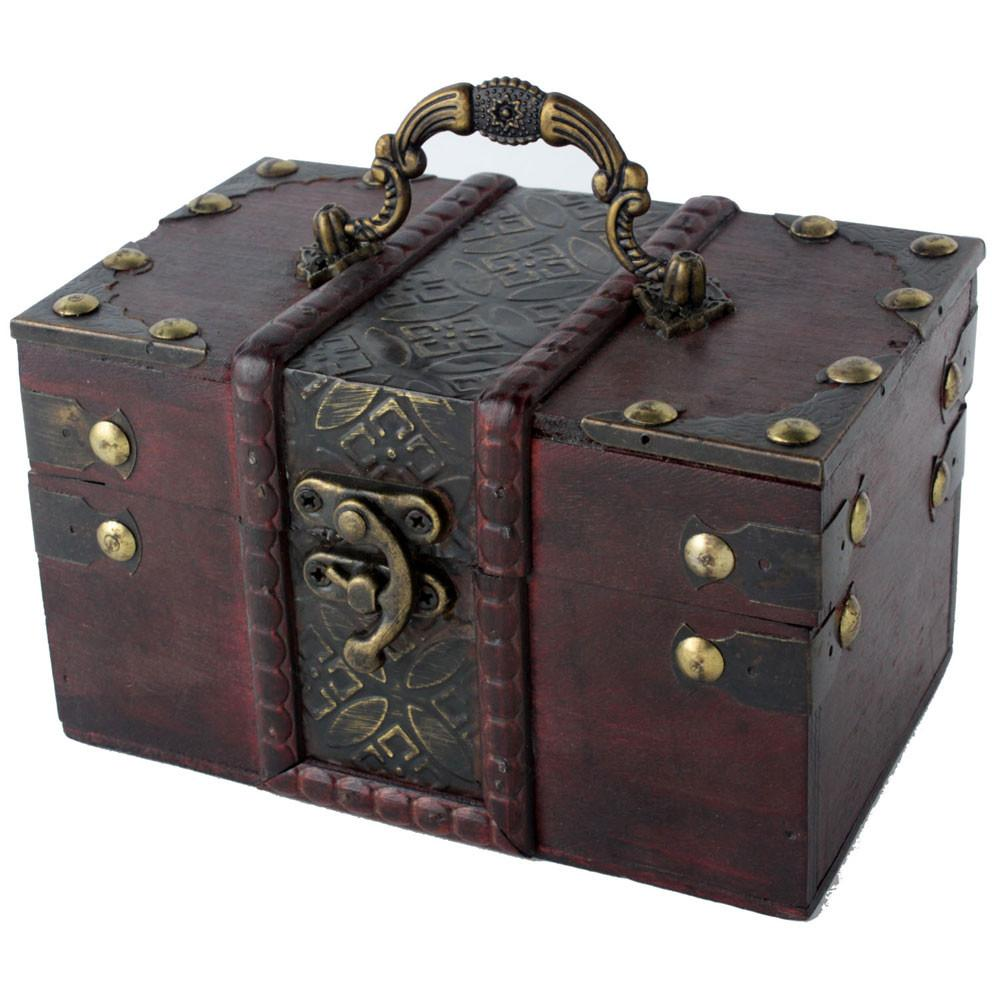 Women Brown Retro Old Style Wooden Jewelry Gift Box Case