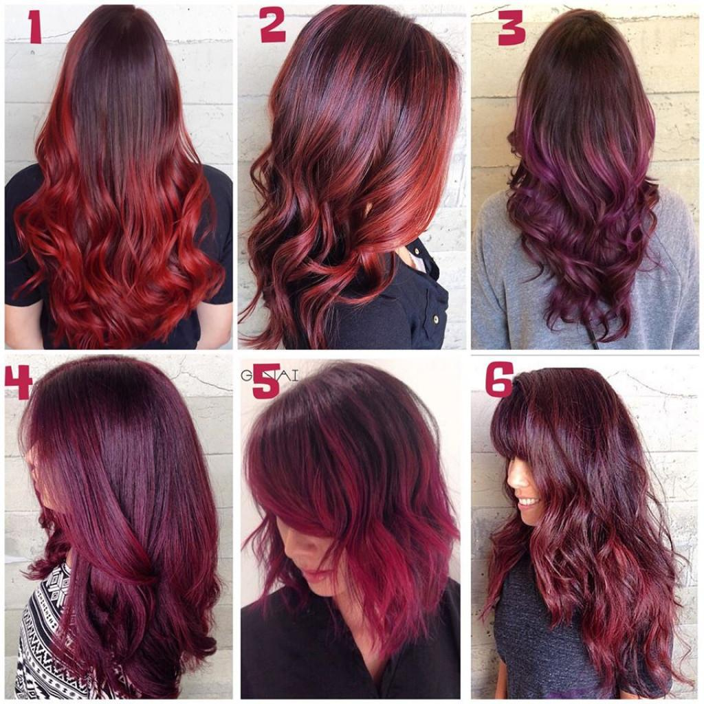 Women Hairstyle Burgundy Ombre Hair Color Long