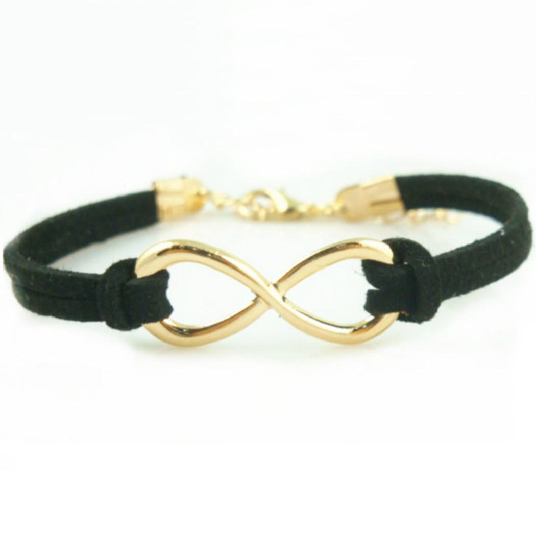 Women Handmade Charm Diy Infinity Beads Leather Cord