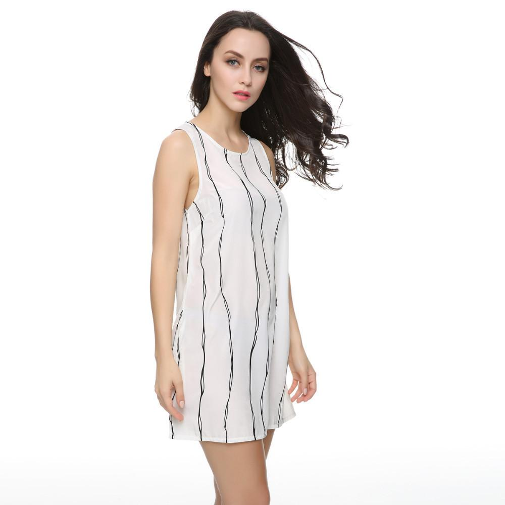 Women White Casual Summer Shift Dress Striped Sleeveless