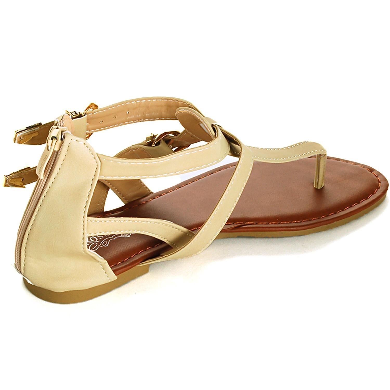 Womens Gladiator Sandals Strap Thongs Roman Flats Back
